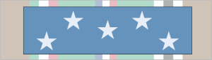 Medal of Honor ribbon (foreground); World War II European-African-Middle Eastern Campaign ribbon (background)