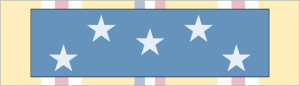 Medal of Honor ribbon (foreground); World War II Asiatic-Pacific Campaign ribbon (background)