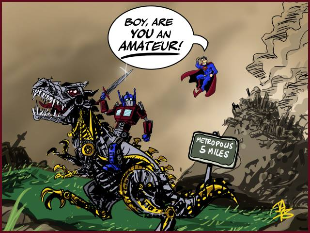 Optimus Prime is an amateur at destruction compared to Superman
