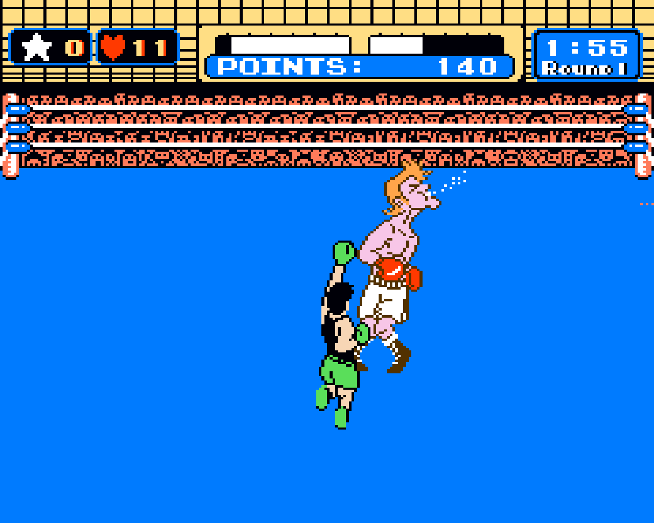 Little Mac punches Glass Joe in Punch Out!